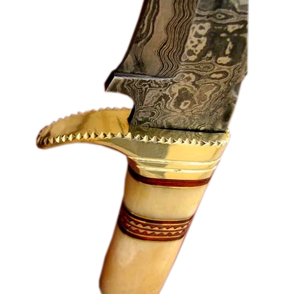 Damascus-custom-knife-camel-bone