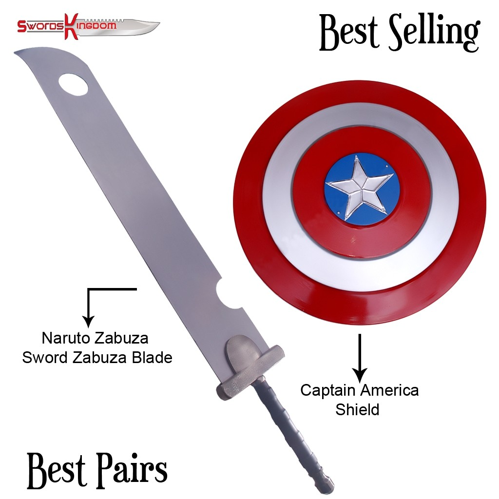 Anime Inspired Zanbatou Slayer Sword & Red Captain America Shield Replica