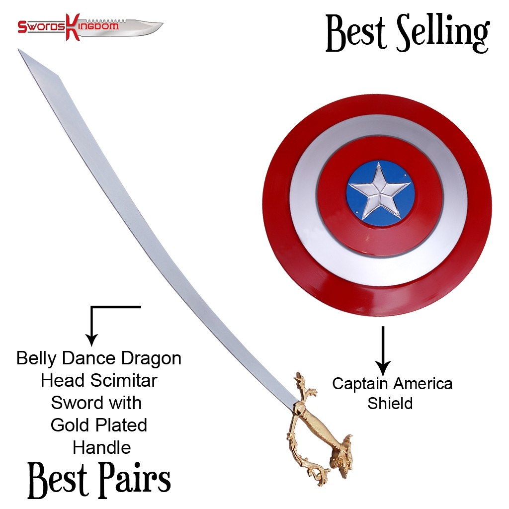 Functional Arabian Belly Dance Dragon Scimitar Gold Handle & Red Captain America Shield Replica