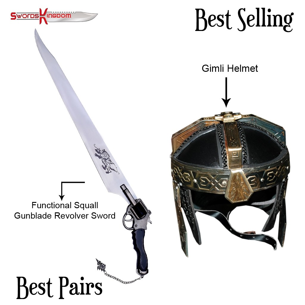 Functional Squall Gunblade from Final Fantasy & Functional Gimli Helmet from LOTR