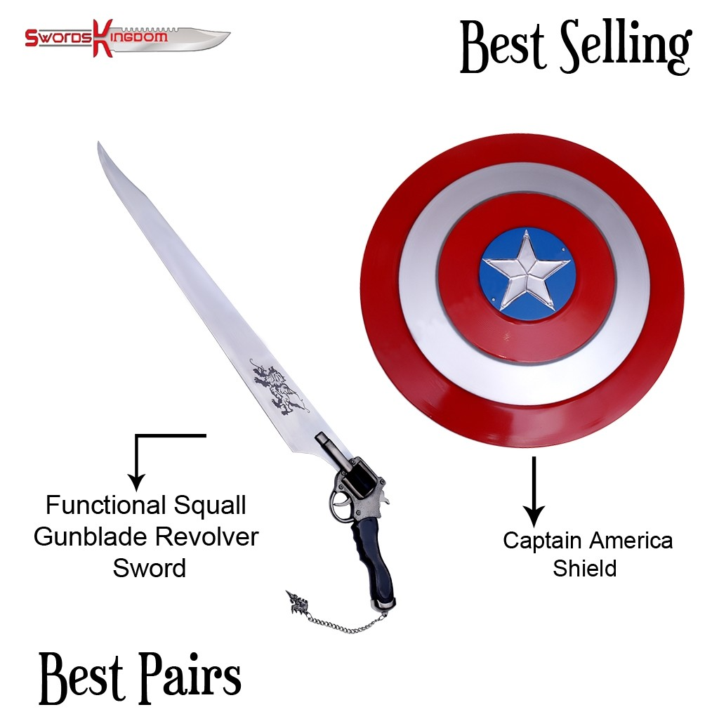 Functional Squall Gunblade from Final Fantasy & Red Captain America Shield Replica
