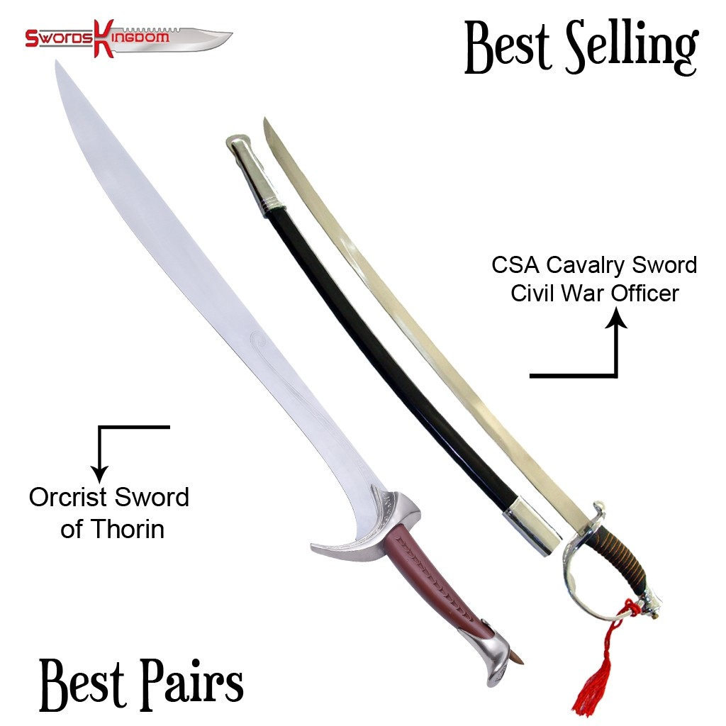 Oblin Cleaver Orcrist Sword of Thorin Oakenshield & CSA Cavalry Officer Sword Replica
