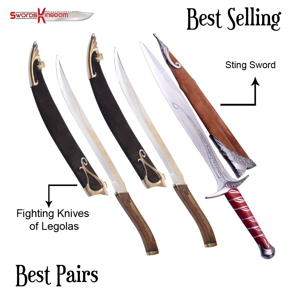 Sting Sword Replica from Lord of the Rings & Legolas Daggers Pair replica from LOTR
