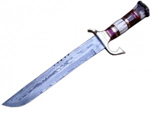 Damascus Bowie Knife Hunting Blade