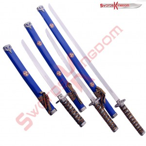 Symbolic 3 piece Blue Samurai Swords Set
